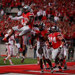The Ohio State offense celebrates again.