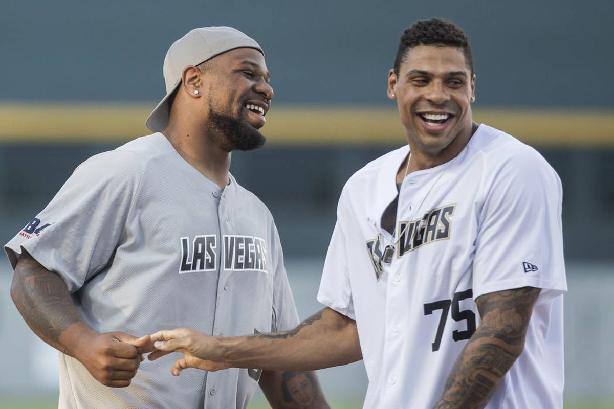 Raiders players beat Golden Knights in charity softball game