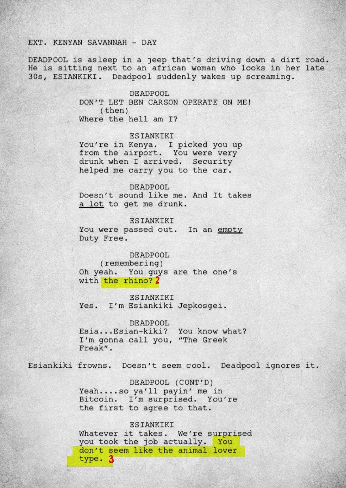 An Annotated Version of Donald Glover's 'Deadpool' Script ... Tv Show Script