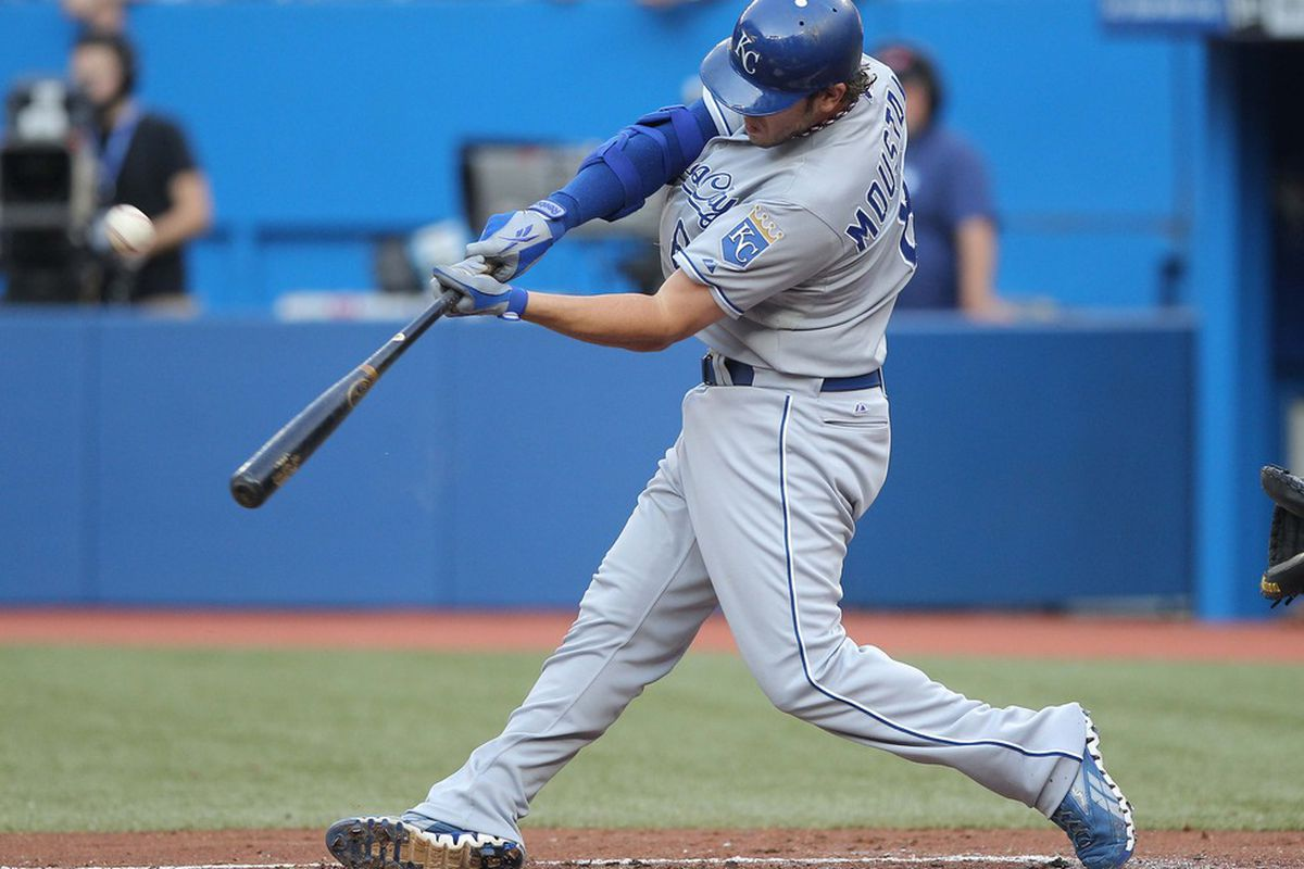 Jul 5, 2012; Toronto, ON, Canada; Kansas City Royals third baseman Mike Moustakas (8) bats against the Toronto Blue Jays at the Rogers Centre. The Royals beat the Blue Jays 9-6. Mandatory Credit: Tom Szczerbowski-US PRESSWIRE