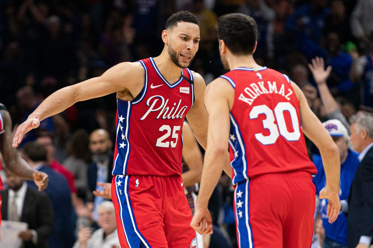 Philadelphia 76ers guard Ben Simmons reacts to guard Furkan Korkmaz score during the fourth quarter against the Brooklyn Nets at Wells Fargo Center.