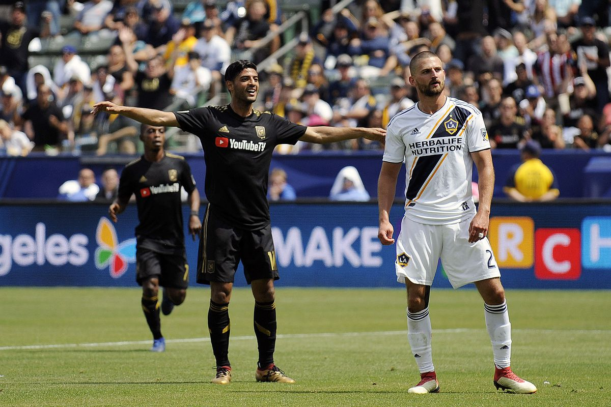8db801c0f Los Angeles FC forward Carlos Vela (10) celebrates his goal scored against  the Los Angeles Galaxy during the first half at StubHub Center.