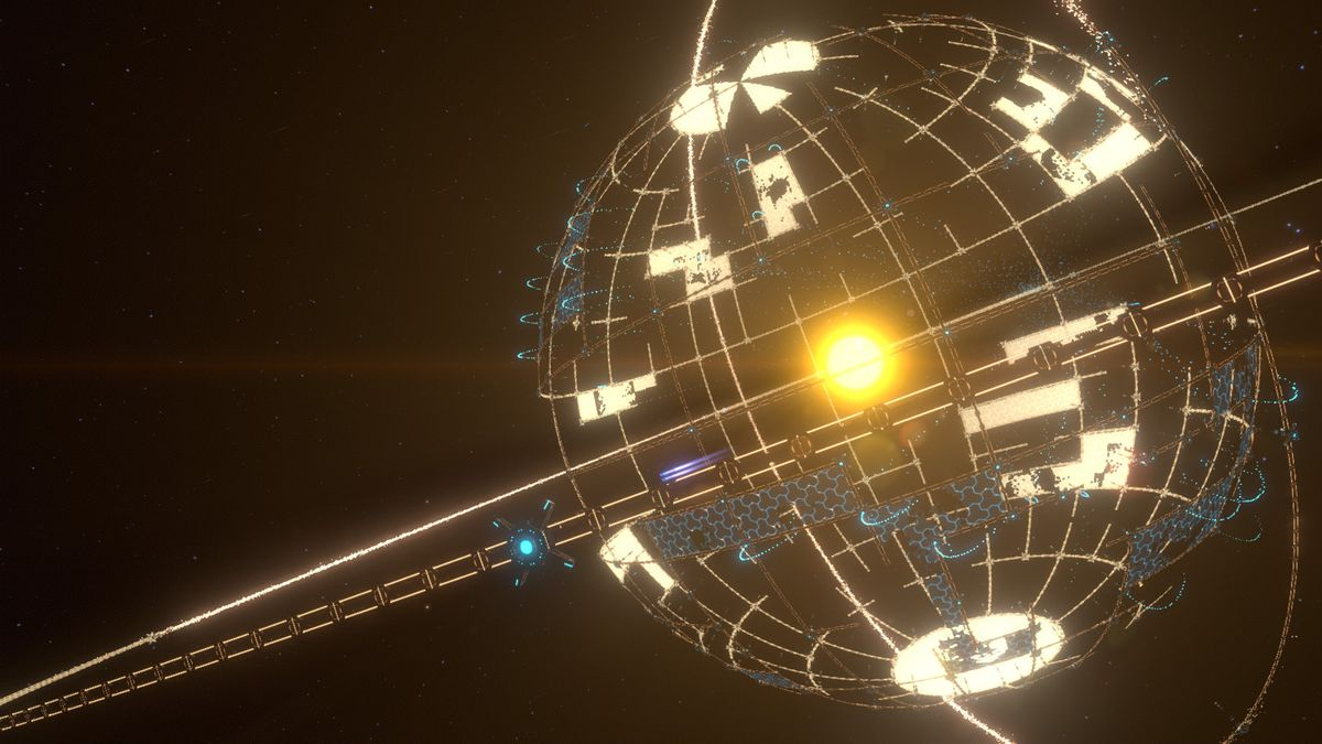 a Dyson sphere begins construction around a star in deep space in Dyson Sphere Program
