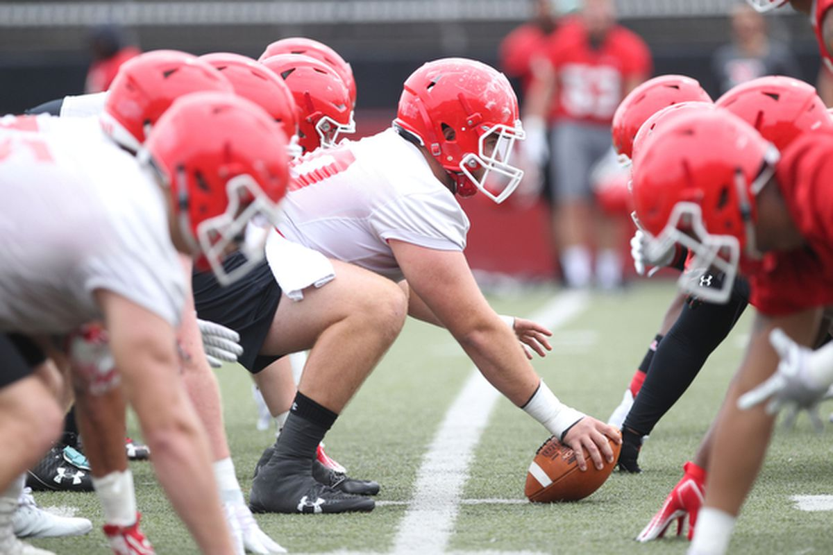 Youngstown State Penguins C Vitas Hrynkiewicz prepares a snap during practice, Aug. 3, 2018.
