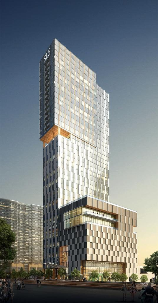 A rendering of a tall glassy building.