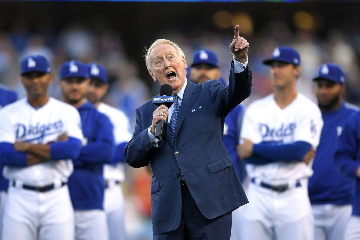 The Dodgers said broadcaster Vin Scully is recovering after falling in his home.