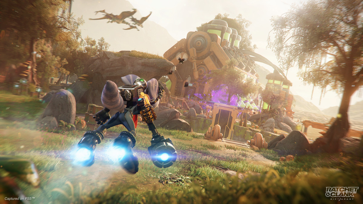 Rivet glides on her Hoverboots in Ratchet & Clank: Rift Apart