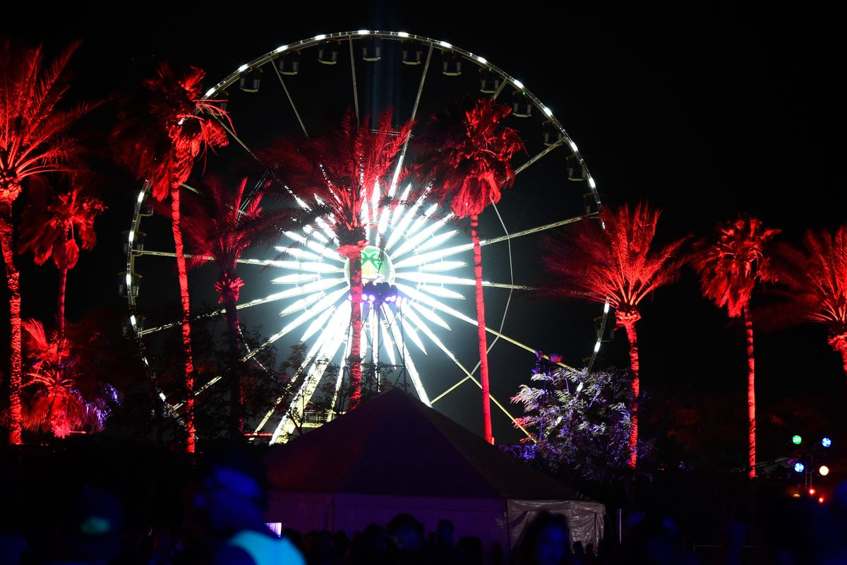 A night view of the ferris wheel during the 2016 Coachella festival on April 15, 2016 in Indio, California.