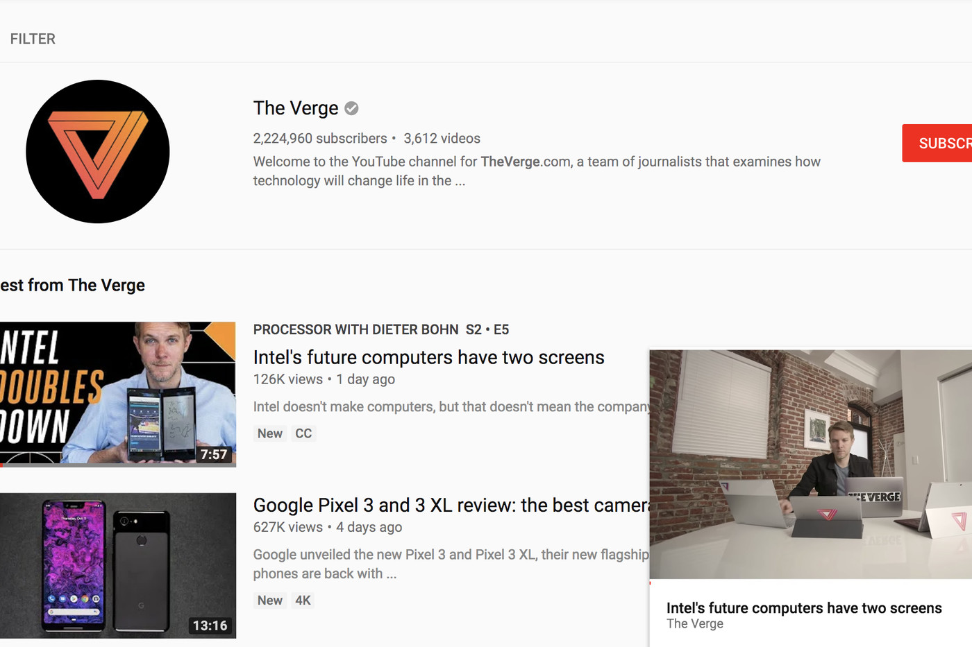 a05d94fb135 YouTube introduces mini-player for desktop browsers - The Verge
