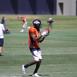 Broncos WR Emmanuel Sanders works on catches after the last training camp concluded today.