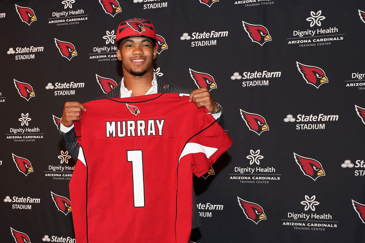 Quarterback Kyler Murray of the Arizona Cardinals poses during a press conference at the Dignity Health Arizona Cardinals Training Center on April 26, 2019 in Tempe, Arizona. Murray was the first pick overall of the Arizona Cardinals in the 2019 NFL Draft