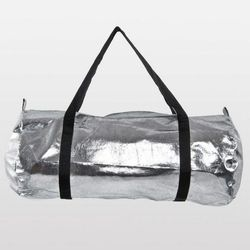 "<a href=""http://store.americanapparel.net/rsalp540.html?cid=49-751""> American Apparel pack cloth metallic duffle bag</a>, $30 americanapparel.net"