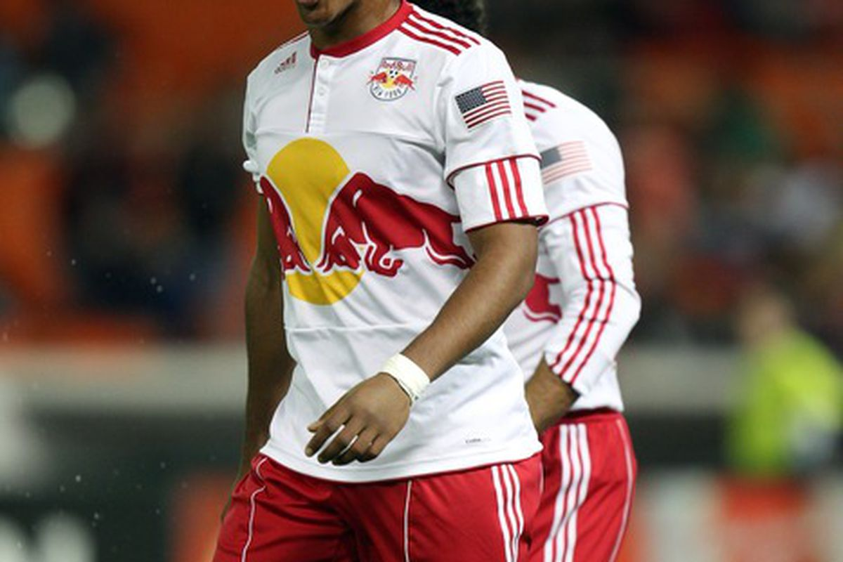 WASHINGTON, DC - APRIL 21: Juan Agudelo #17 of the New York Red Bulls celebrates after a goal against D.C. United at RFK Stadium on April 21, 2011 in Washington, DC. (Photo by Ned Dishman/Getty Images)