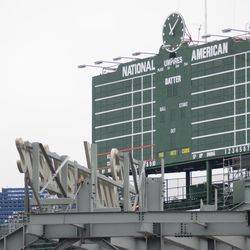11:08 a.m. The Budweiser sign now visible in the right-field corner -