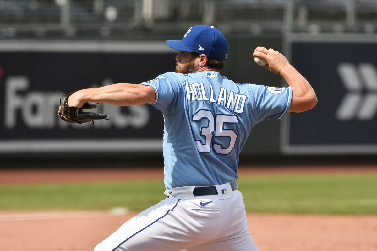 Relief pitcher Greg Holland #35 of the Kansas City Royals throws in the sixth inning against the Chicago White Sox at Kauffman Stadium on September 6, 2020 in Kansas City, Missouri.
