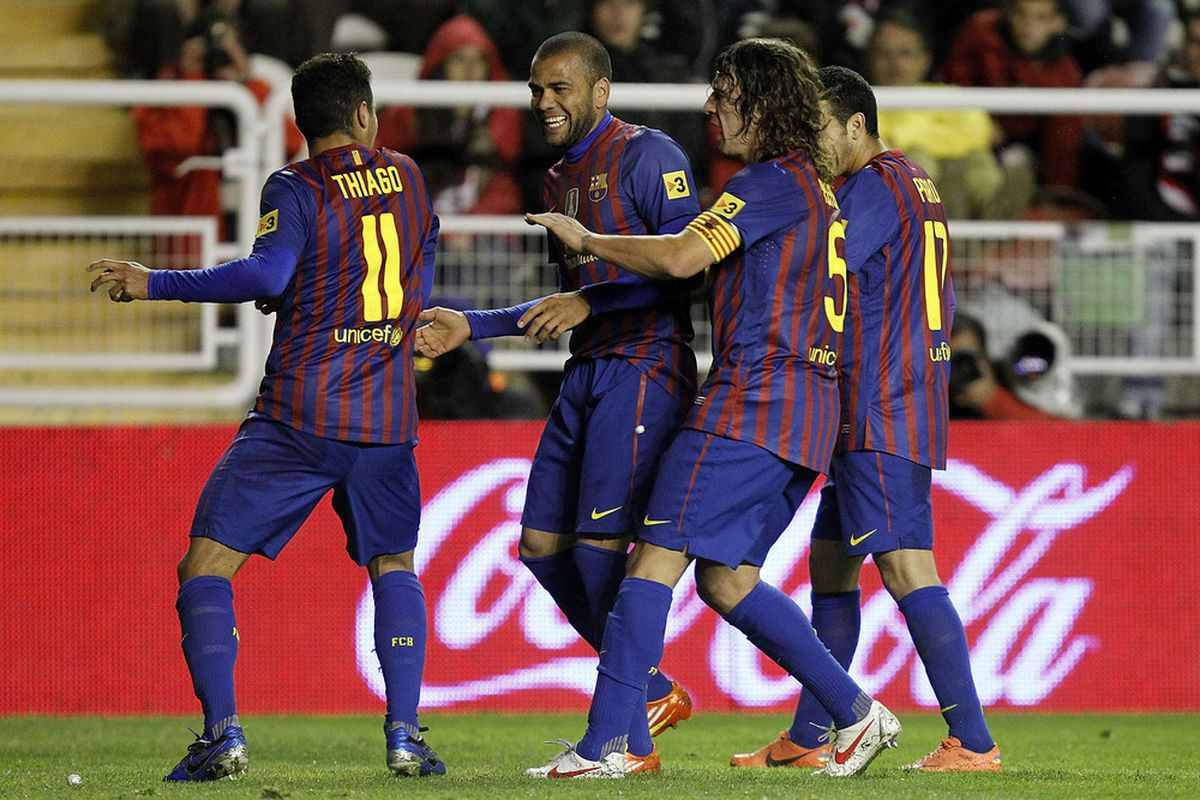 Thiago and Alves's dance was stopped by the captain (Photo by Angel Martinez/Getty Images)
