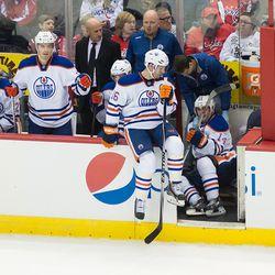 Eberle on Oilers Bench Floor