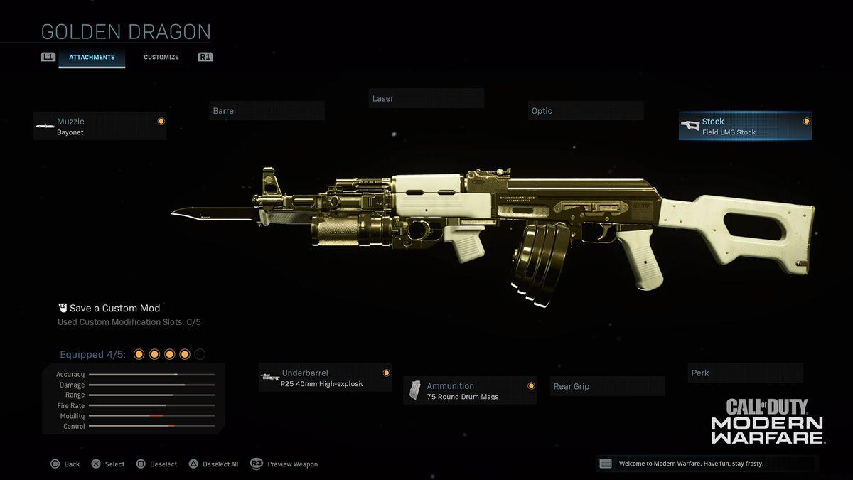 Golden Dragon Gunsmith Customs Modern Warfare