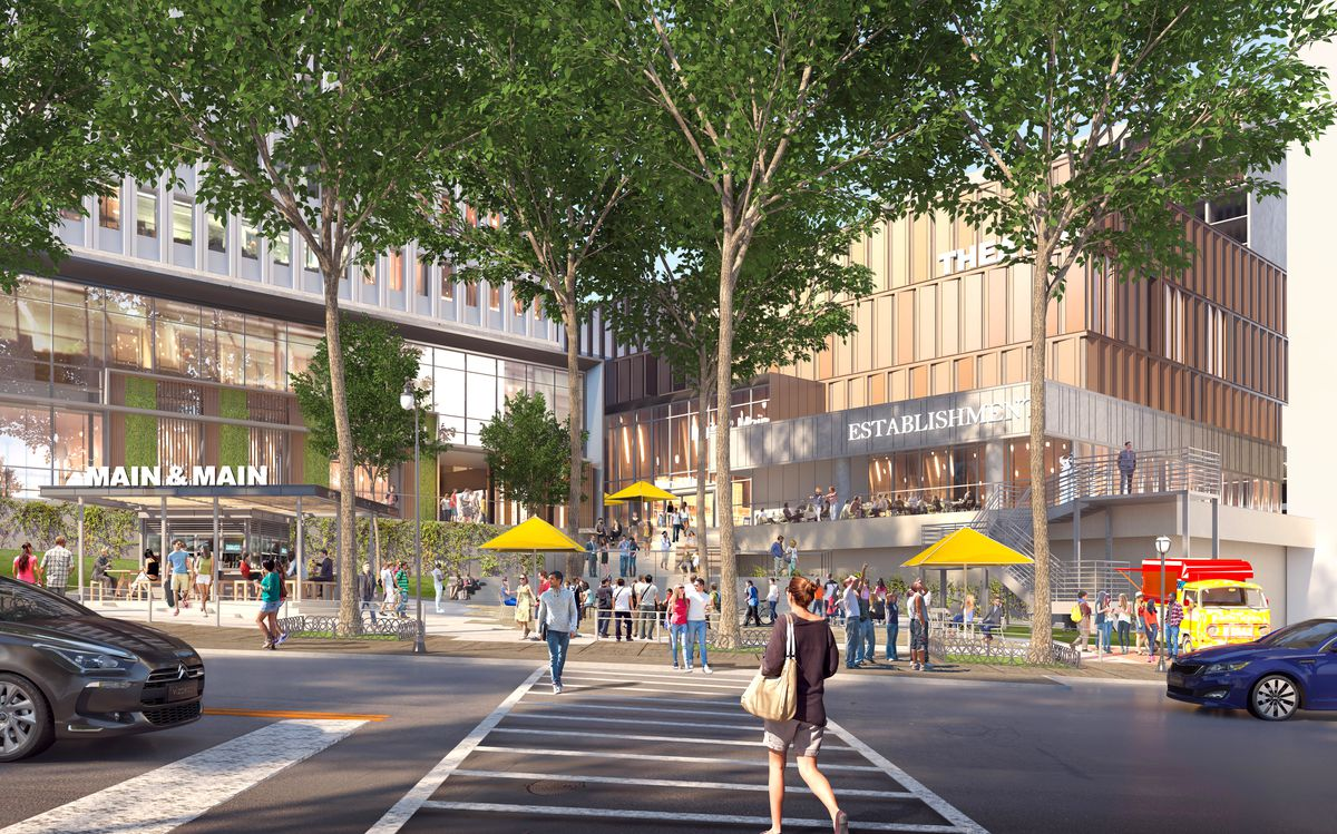 A rendering shows the vision for the ground floor at part of Colony Square.