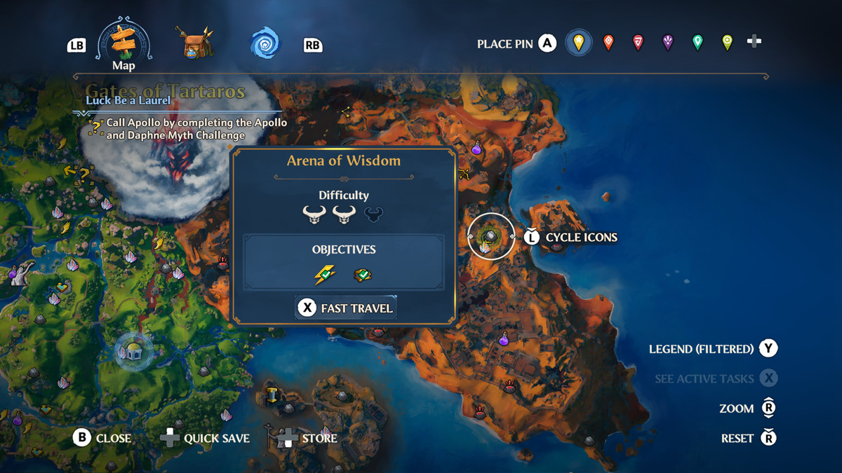 The map location of the Arena of Wisdom in Immortals Fenyx Rising