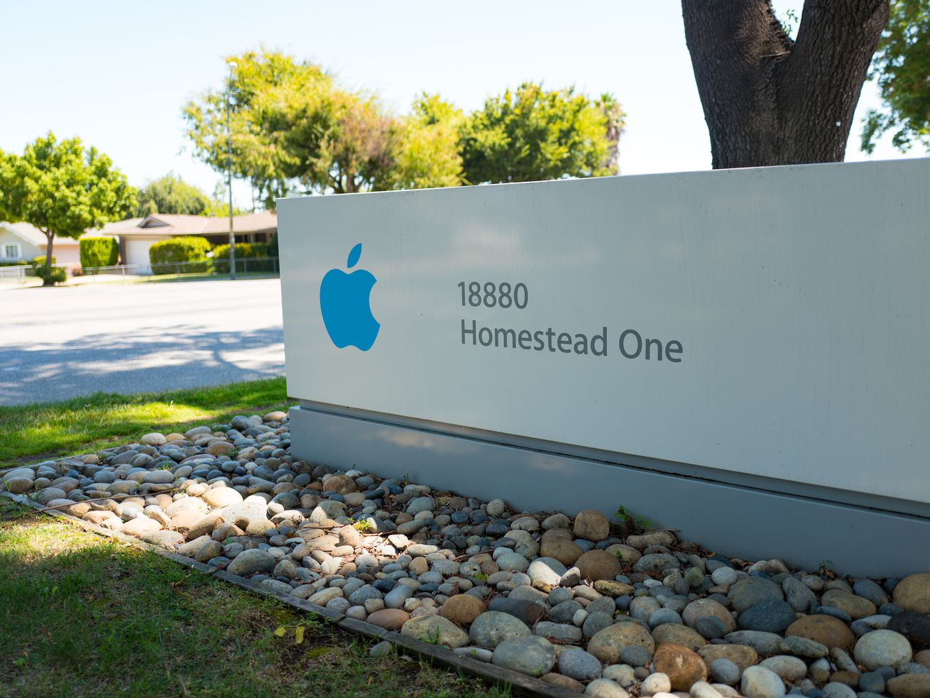 A sign outside the Apple building on Homestead One.