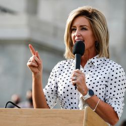 Kathleen Anderson addresses a crowd during a Silent Majority March at the state Capitol in Salt Lake City on Saturday, Aug. 1, 2020.