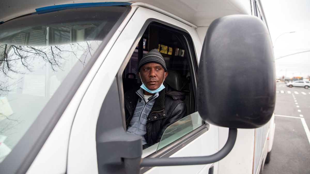 Roan Lindo has been driving dollar vans for 17 years in Brooklyn, Dec. 9, 2020.