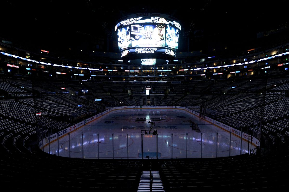 LOS ANGELES, CA - MAY 26: Staples Center sits empty hours before the start of Game Four of the Western Conference Final during the 2014 Stanley Cup Playoffs between the Los Angeles Kings and the Chicago Blackhawks at Staples Center on May 26, 2014 in Los Angeles, California.