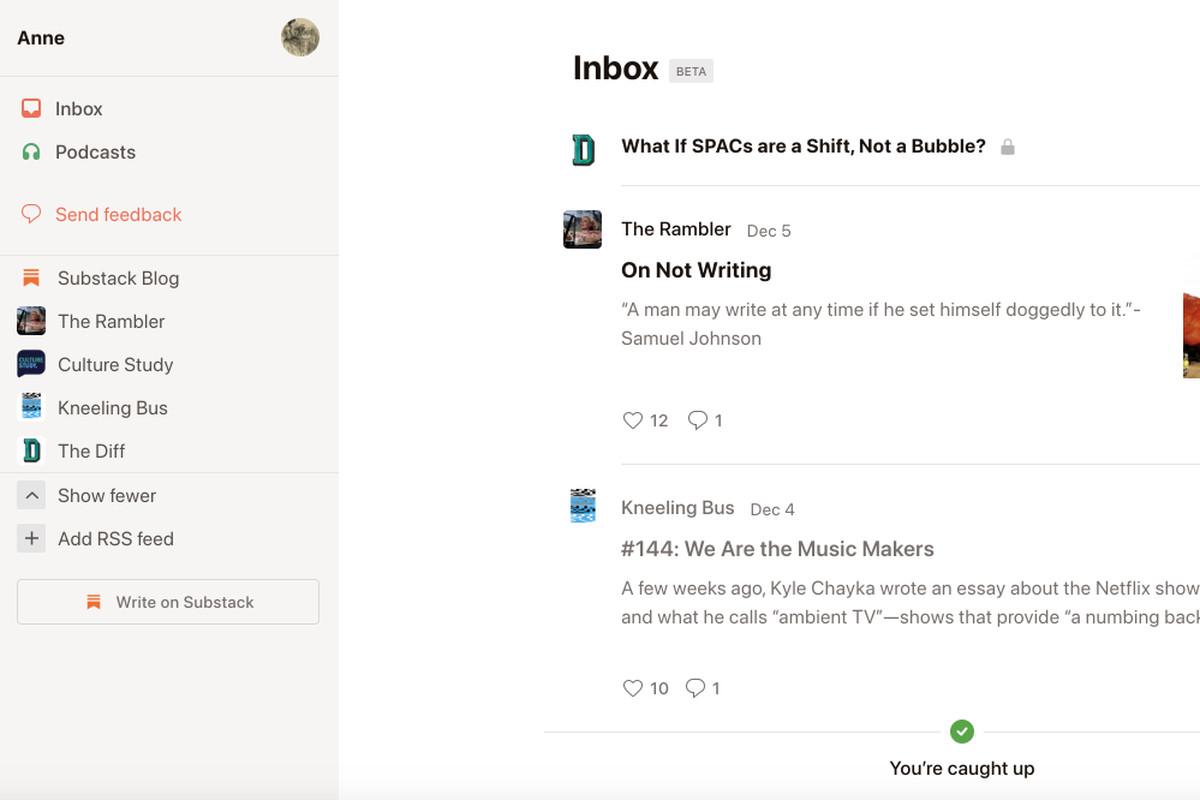 Substack Reader screenshot showing a list of newsletters on the left and individual posts on the right.