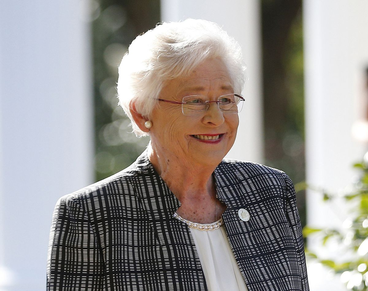 In this Nov. 17, 2017, file photo, Alabama Gov. Kay Ivey speaks to the media in Montgomery, Ala. Alabama lawmakers have passed a near total ban on abortion. The state Senate on Tuesday, May 14, 2019, passed the bill that would make performing an abortion