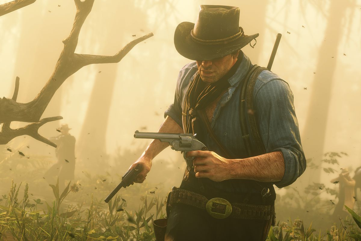 Red dead redemption 2 arthur running away from gunfire in the forest