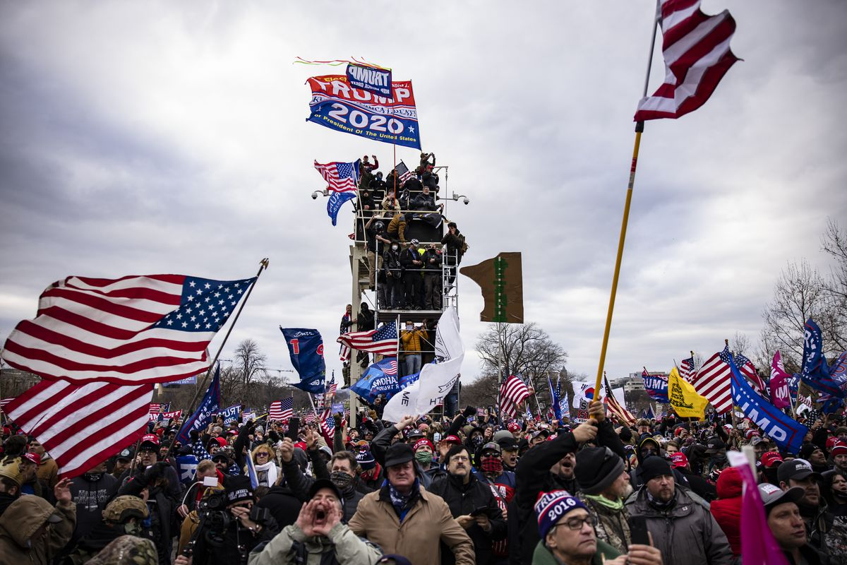 Pro-Trump supporters storm the U.S. Capitol following a rally with President Donald Trump on January 6, 2021 in Washington, DC.