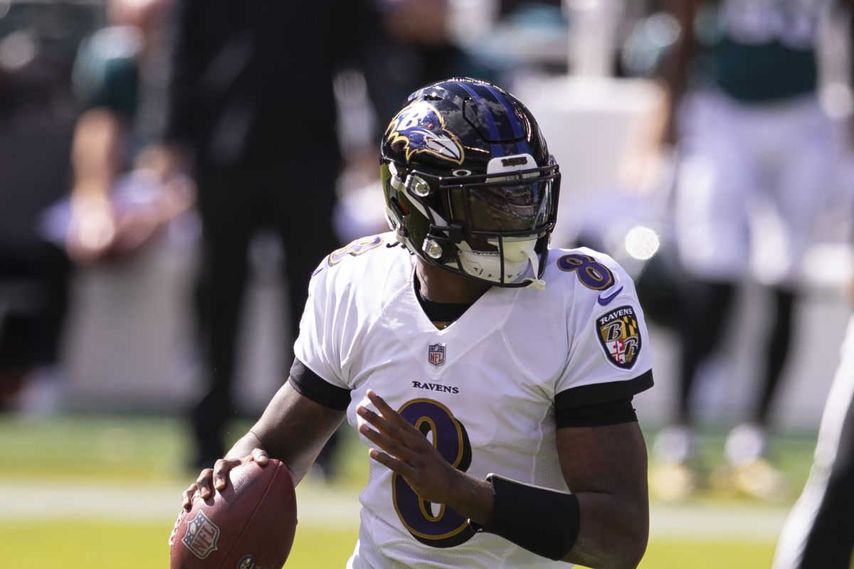 Lamar Jackson of the Baltimore Ravens looks to pass the ball against the Philadelphia Eagles at Lincoln Financial Field on October 18, 2020 in Philadelphia, Pennsylvania.