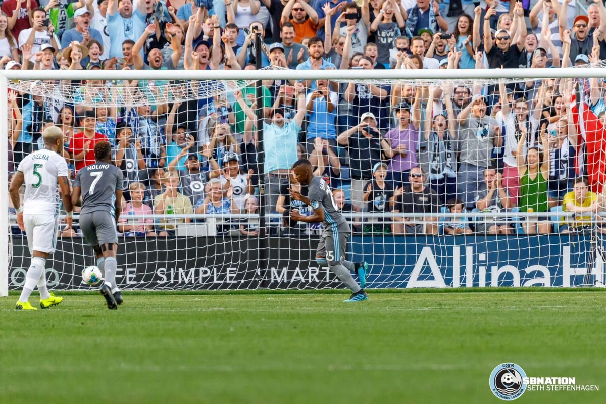 August 7, 2019 - Saint Paul, Minnesota, United States - Minnesota United forward Darwin Quintero (25) scores a goal from the penalty spot during the US Open Cup semifinal match against the Portland Timbers at Allianz Field.