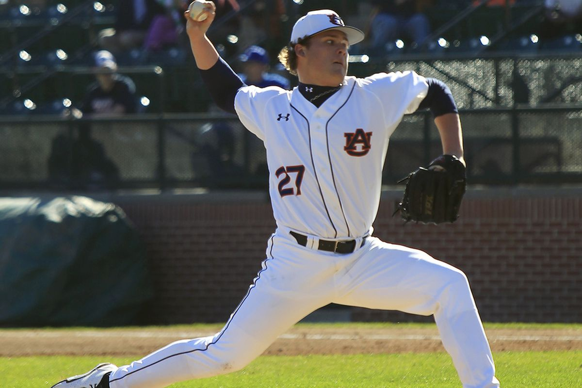 Justin Camp pitches for Auburn against Indiana State on Sunday, Feb. 24.
