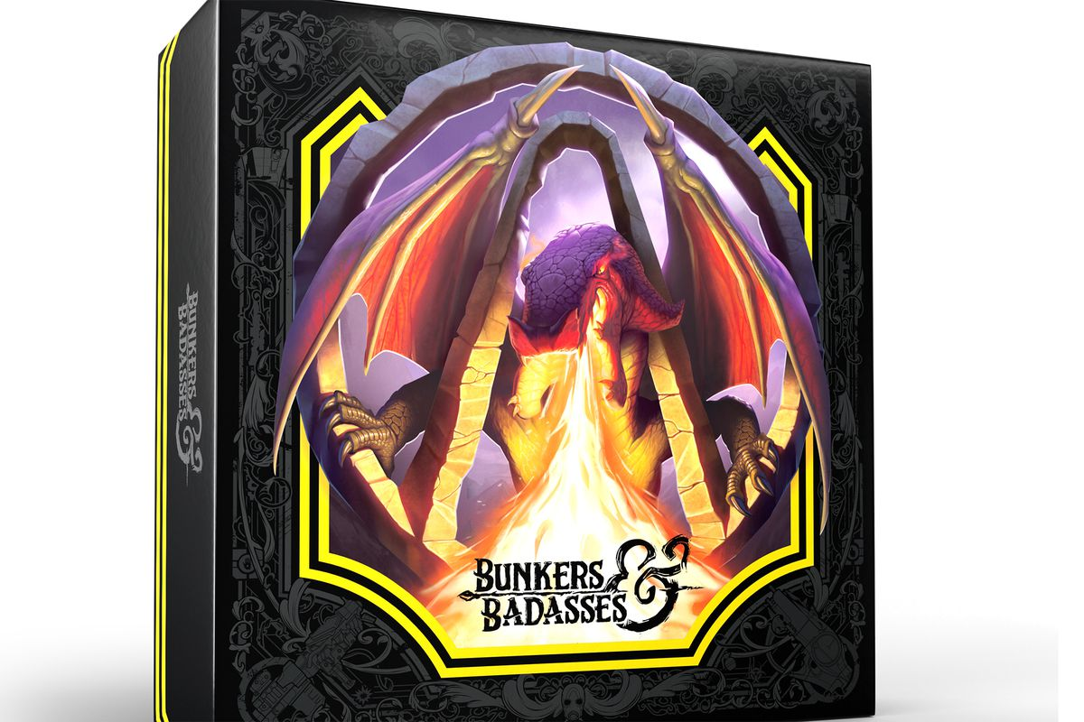 Cover art for the Deluxe Edition of Bunkers & Badasses includes the Borderlands arch and a fire-breathing dragon on a black background.