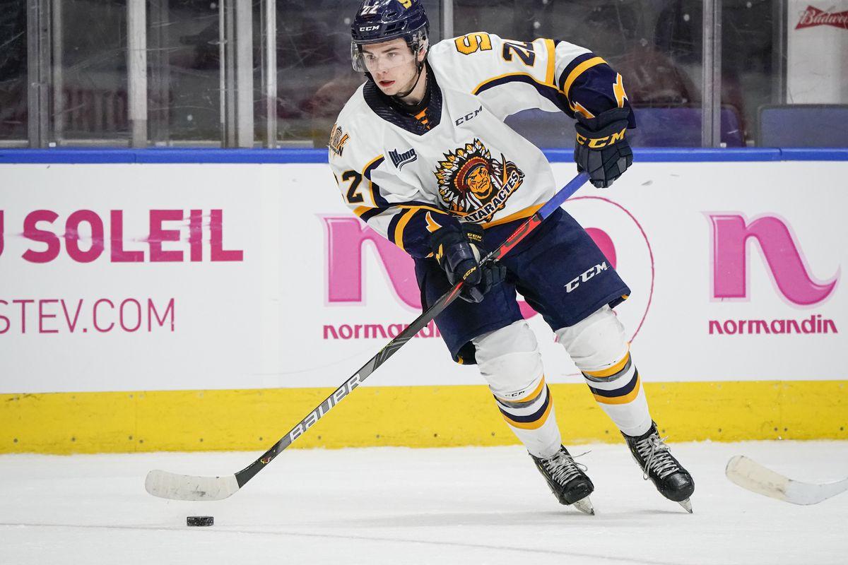 QUEBEC CITY, QC - OCTOBER 26: Mavrik Bourque #22 of the Shawinigan Cataractes skates during his QMJHL hockey game at the Videotron Center on October 26, 2019 in Quebec City, Quebec, Canada.