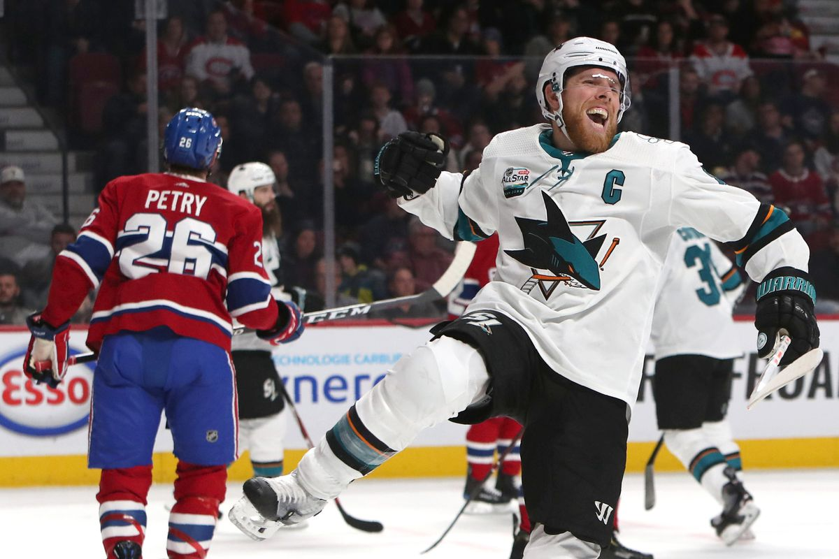 Dec 2, 2018; Montreal, Quebec, CAN; San Jose Sharks center Joe Pavelski (8) celebrates his goal against Montreal Canadiens during the second period at Bell Centre.