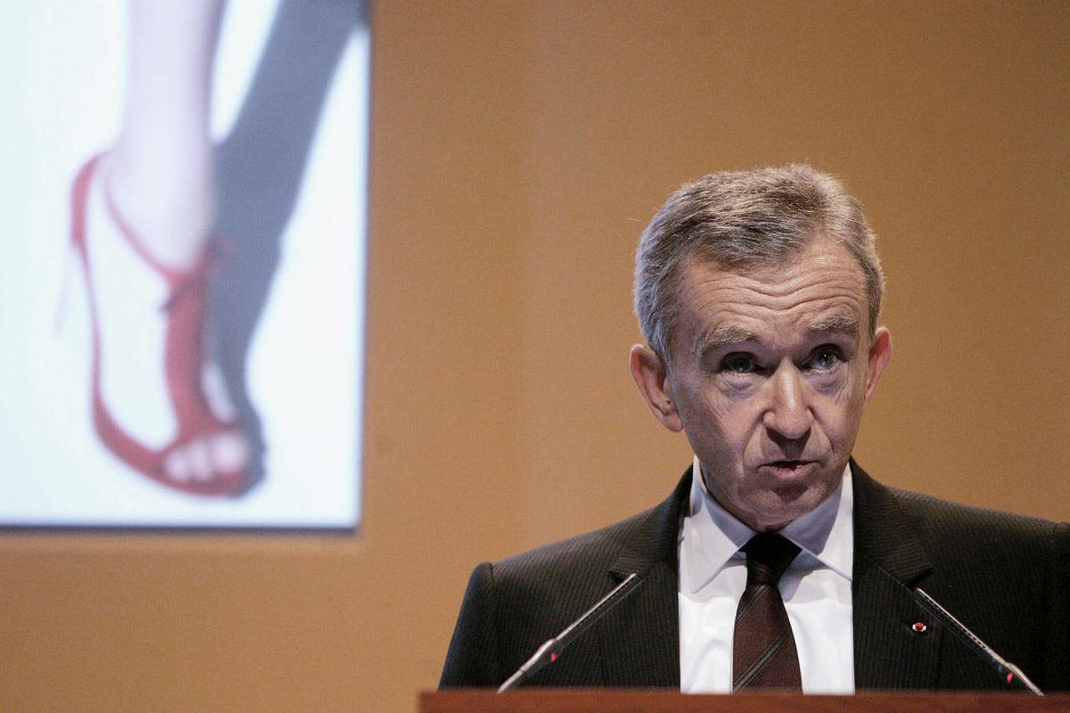 FILE - In this Feb. 5, 2009 file photo, Bernard Arnault. Chairman and CEO of LVMH Moet Hennessy Louis Vuitton, the Paris-based luxury goods empire, presents the group's 2008 results in Paris. La Libre Belgique newspaper reported Saturday Sept.8, 2012 that
