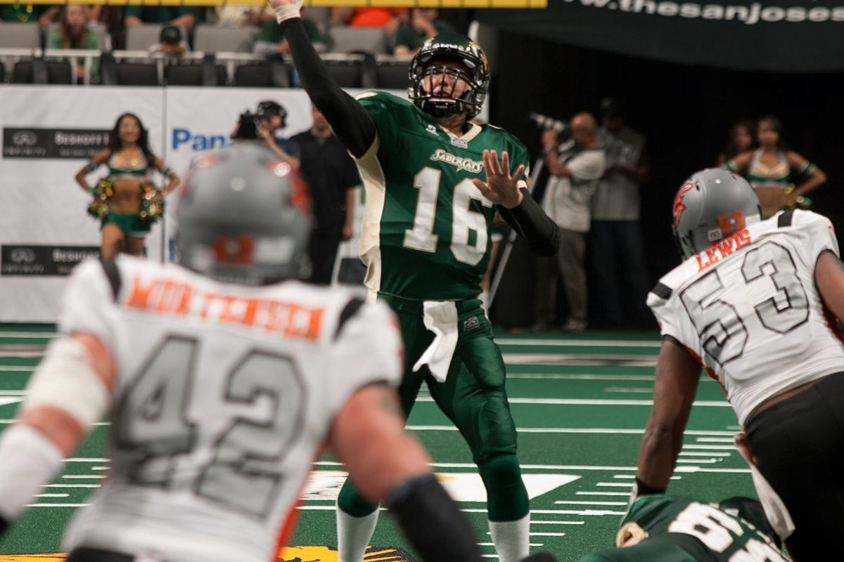 Mark Grieb, SaberCats vs. Blaze on May 11, 2012 (Photo by D. Ross Cameron, courtesy of the San Jose SaberCats)