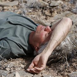 Dean Bradshaw takes a quick nap while riding horses in the Sid's Mountain Wilderness Study Area of the San Rafael Swell  Friday, April 1, 2011, in the San Rafael Swell in Central Utah.