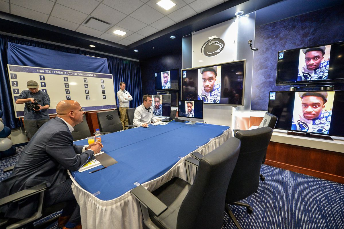 James Franklin video chats with a new signee