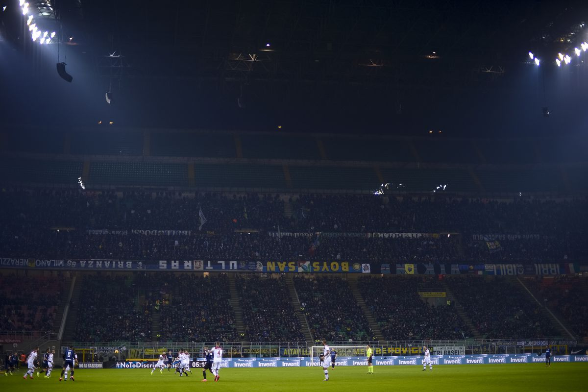 Fans of FC Internazionale in the Curva Nord sector show all...