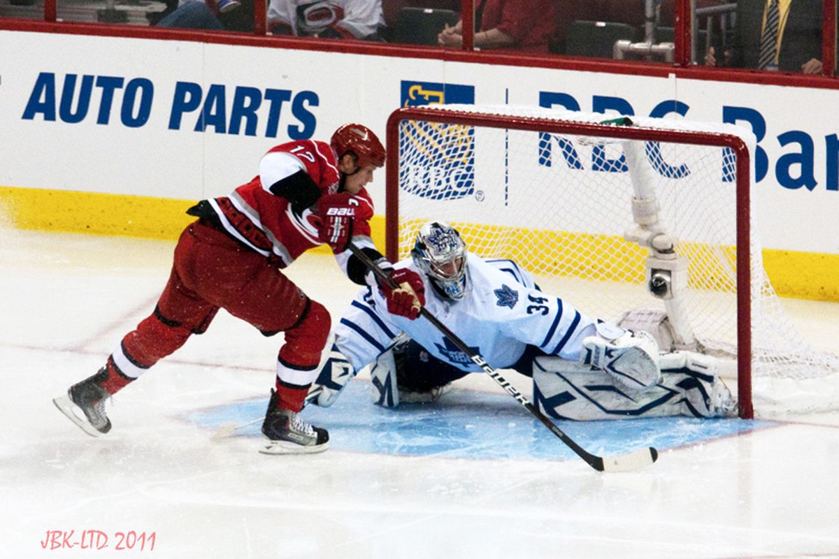 """Carolina captain Eric Staal totaled nine shots on Leafs goalie James Reimer, but for the fifth straight game he was unable to hit the back of the net. (Photo by <a href=""""http://www.flickr.com/photos/jbk-ltd/"""">LTD</a>)"""