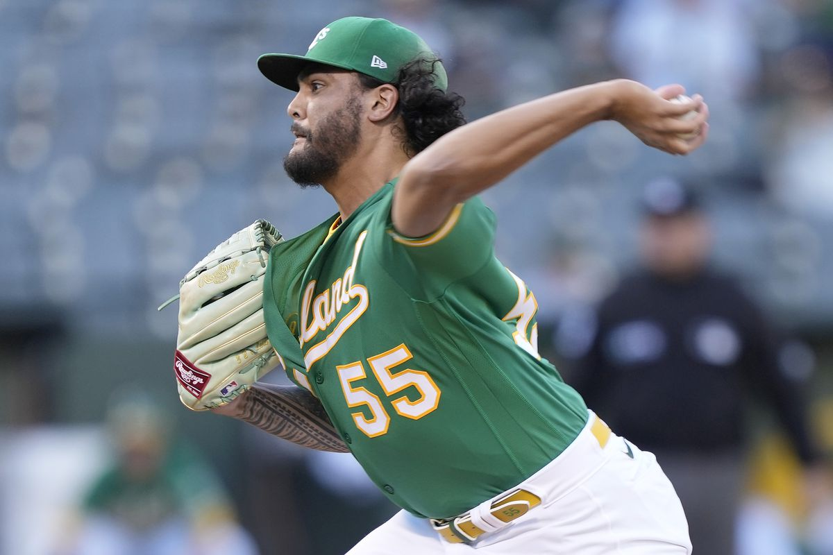 Sean Manaea #55 of the Oakland Athletics pitches against the San Diego Padres in the top of the first inning at RingCentral Coliseum on August 03, 2021 in Oakland, California.