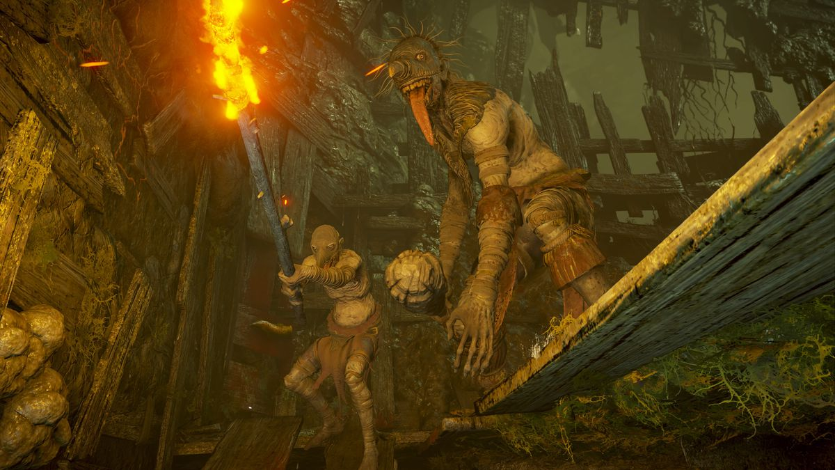 Two Depraved Ones attack the player in a screenshot from Demon's Souls