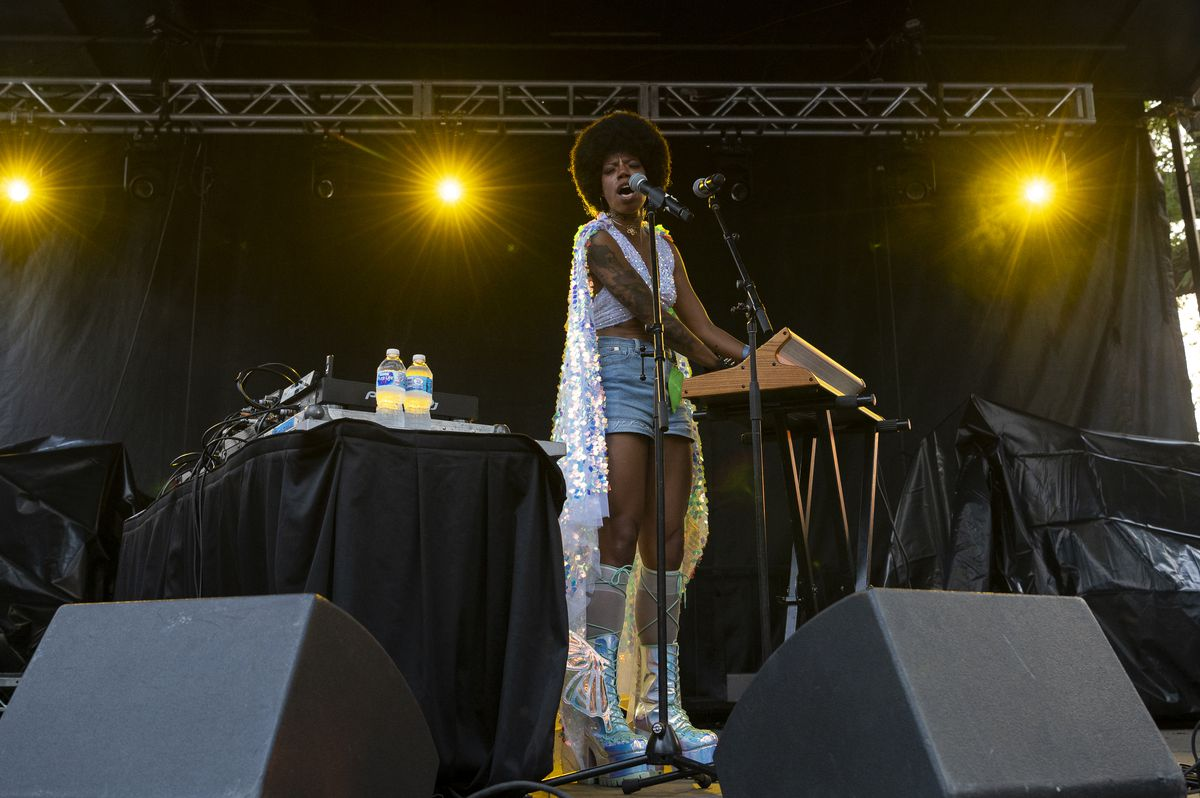 Georgia Anne Muldrow performs at the Blue Stage at Pitchfork music festival at Union Park, Saturday, Sept. 11, 2021.