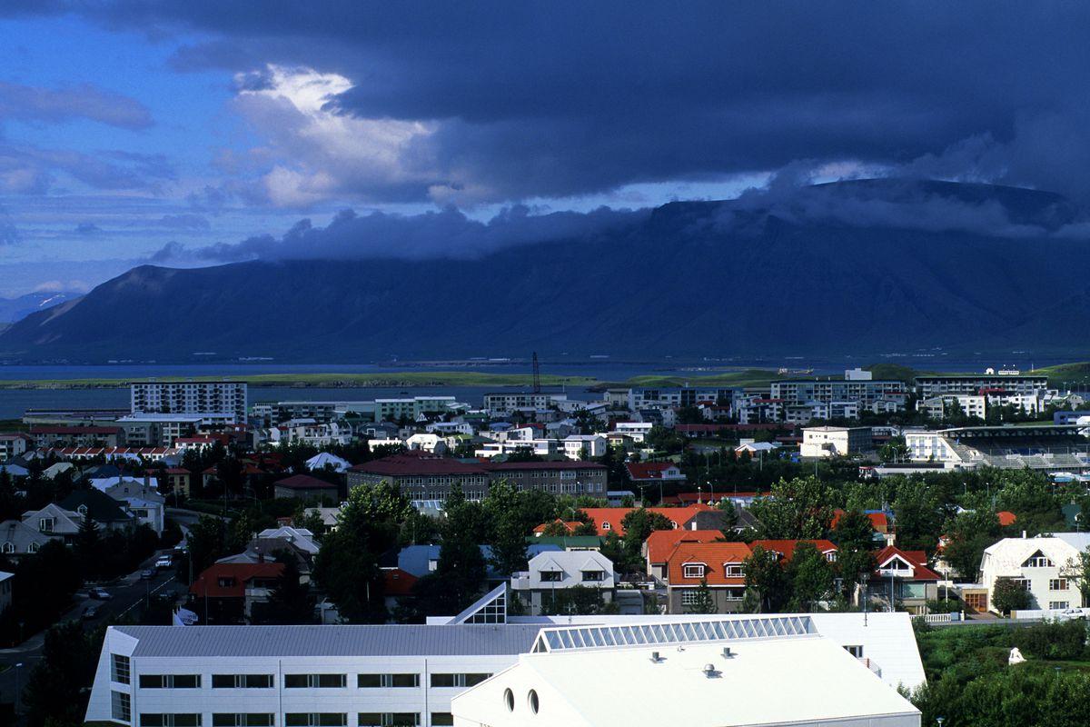 Iceland, Reykjavik, Overview Of Outskirts Of City...