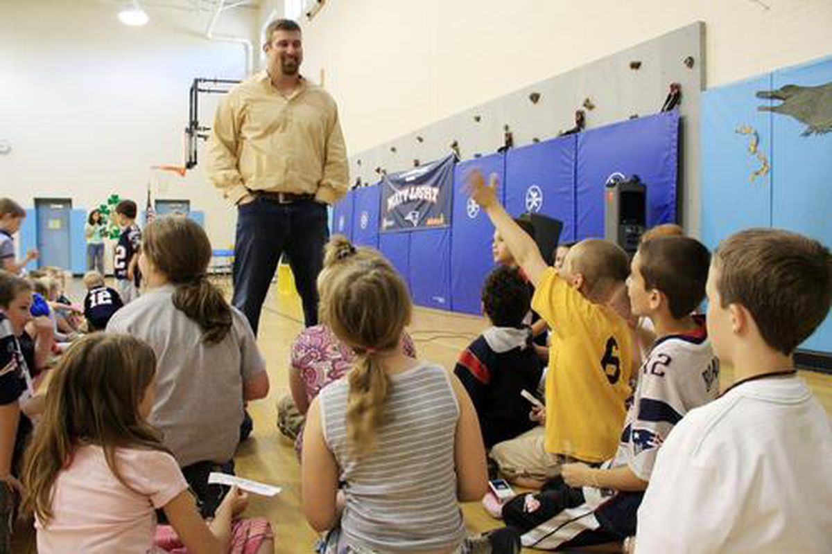 """<em><a href=""""http://www.watertown.k12.ma.us/lowell/documents/LowdownMay2010.pdf"""">Matt Light visited the James Russell Lowell School</a> in Watertown and spoke to the awed kids about being responsible and giving their all</em>."""