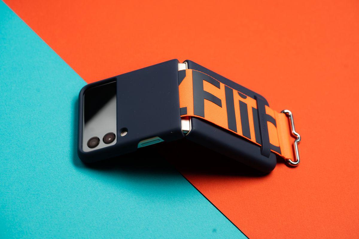 The Galaxy Z Flip 3 in Samsung's stylish new case.
